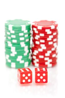 Free Colorful Poker Chips And Dices Stock Photography - 13673212