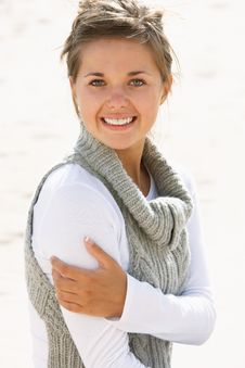 Free Pretty Teenage Girl On Beach Stock Photography - 13673472
