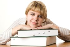 Free Beautiful Student With A Book Stock Images - 13673654