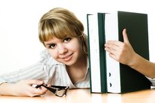 Free Young Student With A Book On White Stock Photo - 13673730