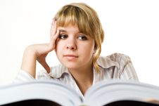 Free Beautiful Young Girl With A Book On White Stock Photography - 13673772