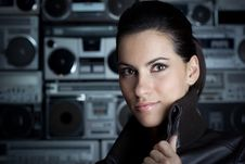 Free Portrait Of Woman With Boom Box Background Royalty Free Stock Images - 13675899
