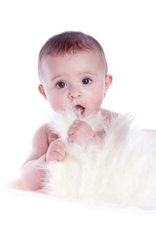 Baby With Feathers Stock Photos