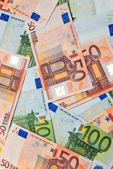 100 And 50 Euro Banknotes. Royalty Free Stock Photo