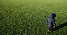 Toddler On Football Pitch Royalty Free Stock Photography