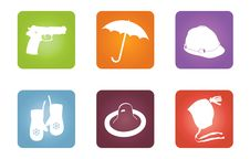 Free Icons With Objects Of Protection Royalty Free Stock Photography - 13677647