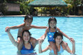 Free Happy Friends On A Pool Royalty Free Stock Image - 13684516