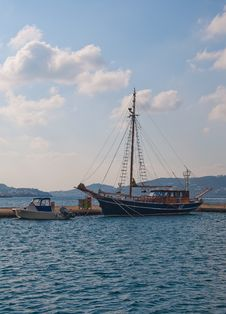 Free Pleasure Yacht In The Ancient Style In The Bay Stock Images - 13680254