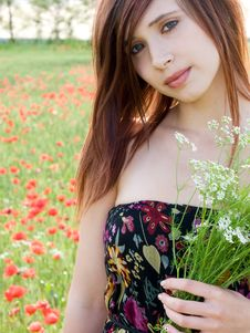 Free Girl In Summer Field Royalty Free Stock Photography - 13680657