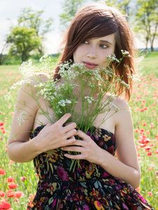 Free Girl In Summer Field Royalty Free Stock Photos - 13680658