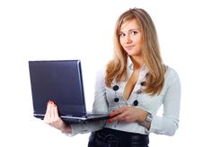 Free Business Woman With Laptop Stock Photography - 13681012