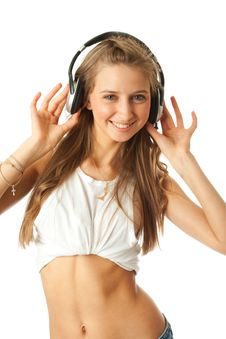 Free The Young Beautiful Girl With Headphones Royalty Free Stock Image - 13682396