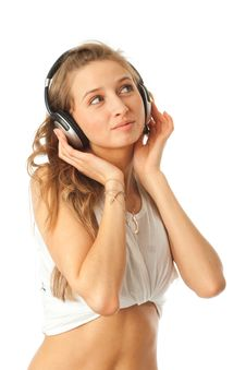 Free The Young Beautiful Girl With Headphones Royalty Free Stock Photos - 13682418