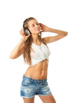 Free The Young Beautiful Girl With Headphones Royalty Free Stock Image - 13682426