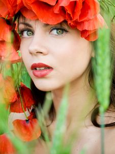 Free Girl With Poppies Royalty Free Stock Photo - 13682665
