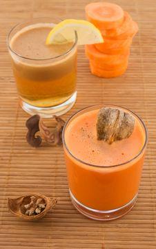 Free Fresh Carrot Juice And Fruit Stock Image - 13682831