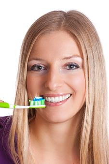 Free Woman With Toothbrush Royalty Free Stock Image - 13683026