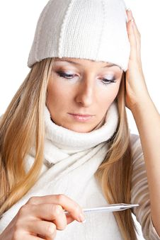 Free Sick Woman With Thermometer In Hat Royalty Free Stock Photography - 13683087