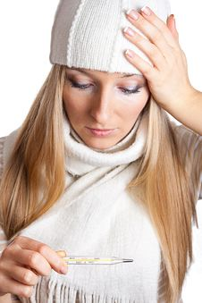 Free Sick Woman With Thermometer In Hat Stock Image - 13683101