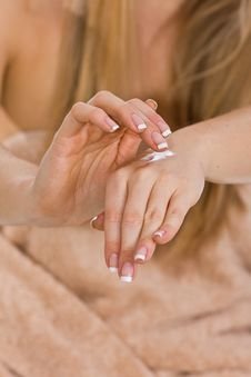 Free Woman Creaming Hands Stock Image - 13683261