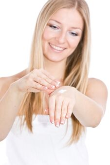 Free Woman Creaming Hands Stock Photo - 13683280