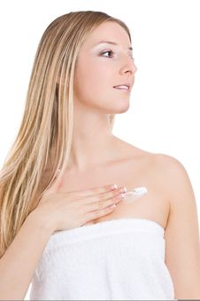 Free Woman Creaming Chest Stock Photos - 13683363