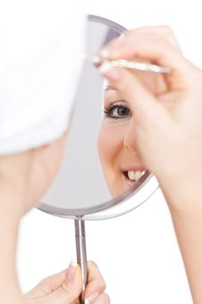 Free Woman Makeup In Mirror Royalty Free Stock Image - 13683406