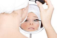 Free Woman Makeup In Mirror Stock Photography - 13683422