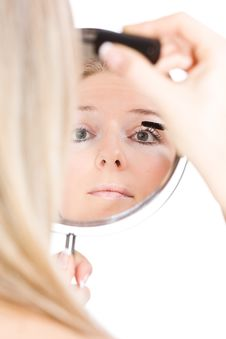 Free Woman Makeup In Mirror Royalty Free Stock Photo - 13683435