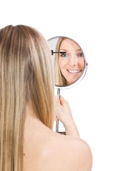 Free Woman Makeup In Mirror Royalty Free Stock Photos - 13683448