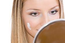 Free Woman Makeup In Mirror Stock Image - 13683481