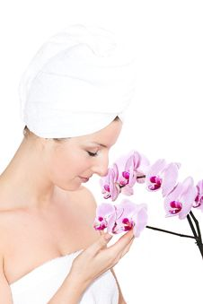 Free Woman With Orchids Stock Photo - 13683710