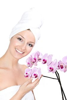 Free Woman With Orchids Royalty Free Stock Photos - 13683718