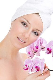 Free Woman With Orchids Royalty Free Stock Photo - 13683725