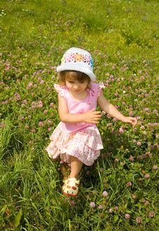 The Girl Runs On A Grass Stock Photography