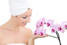 Free Woman With Orchids Stock Photos - 13683733