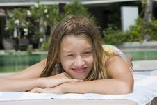 Free Girl Portrait Relaxing Close To Swimming Pool Stock Photos - 13684213