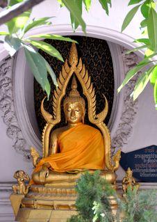 Nakhon Pathom, Thailand: Seated Temple Buddha Stock Image