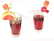 Free Two Red Fruit Juices Royalty Free Stock Photo - 13685165