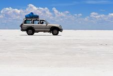 Jeep On Salt Flats Of Uyuni, Bolivia Stock Image