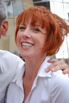 Red Haired Woman Wearing White Shirt Royalty Free Stock Image