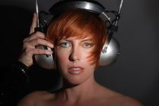 Free Red Headed Woman With Vintage Headphones Royalty Free Stock Photography - 13685457