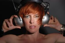 Free Red Headed Woman With Vintage Headphones Royalty Free Stock Image - 13685466
