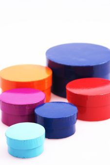 Colorful Round Boxes Stock Photo
