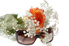 Free Sun Glasses And Bunch Of Flowers Stock Photo - 13687350