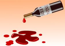 Free Vector Illustration Of Bottle That Spill Red Wine Royalty Free Stock Images - 13689089