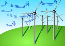 Vector Illustration Of Wind Turbines Stock Images