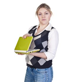 Attractive Blond Woman With Laptop Stock Photo