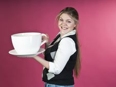 Free Young Girl With Extra Large Cup Royalty Free Stock Photography - 13689807