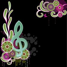 Background With Treble Clef.Vector Illustration Royalty Free Stock Photography